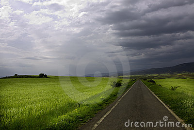 Thunderstorm and country road