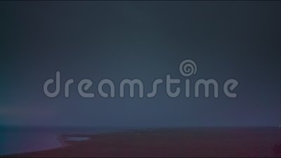 Thunderstorm with lightning on the berig of Lake stock video footage
