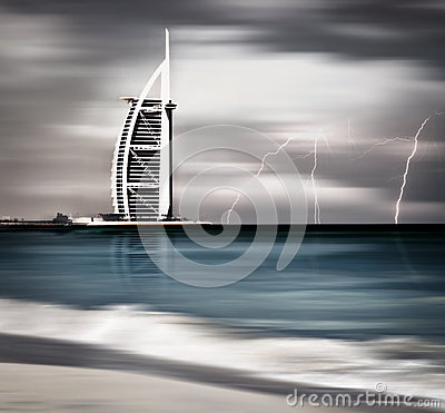 Thunderstorm and lightning on Dubai beach