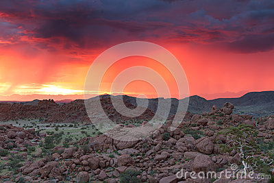 Thunderstorm at Sunset in Damaraland