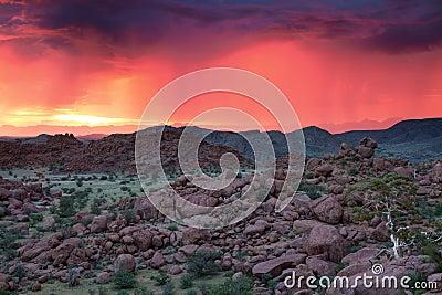 Thunderstorm at sunset in Damaraland