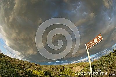 Thundery fisheye sky