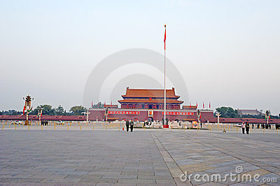 Tian an men with red Editorial Stock Image