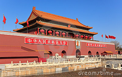 Tiananmen Gate decorated with red lanterns Editorial Image