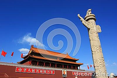 Tiananmen and  marble pillar of china Editorial Stock Photo