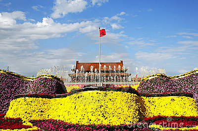 Tiananmen square in holiday with flower decoration
