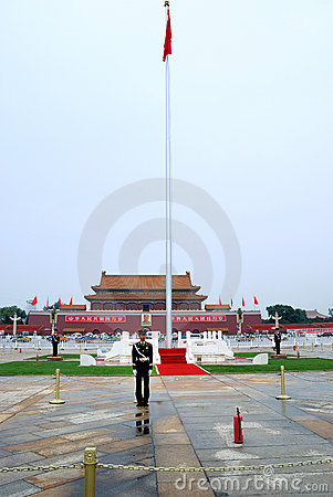 Tiananmen Square soldier Editorial Stock Image