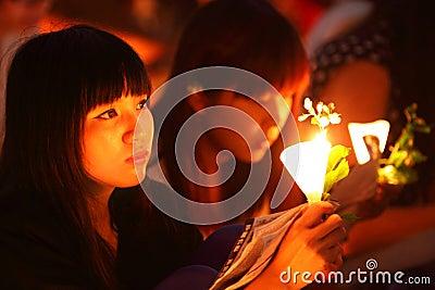Tiananmen Vigil in Hong Kong Editorial Stock Photo