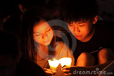 Tiananmen Vigil in Hong Kong Editorial Photography