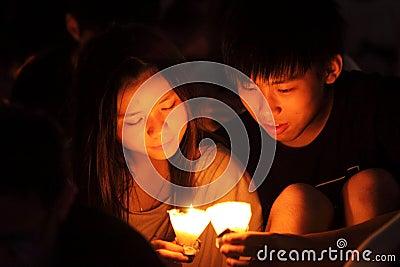 Tiananmen Vigil in Hong Kong Editorial Photography