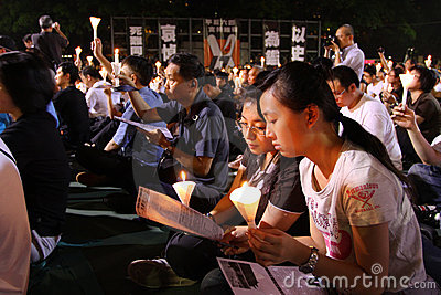 Tiananmen Vigil in Hong Kong 2009 Editorial Image