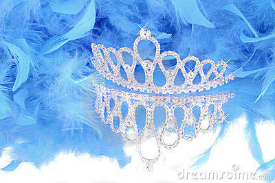 Tiara and blue feather boa