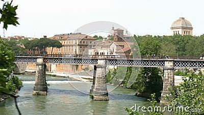 Tiber bridge. Bridge over the Tiber in Rome stock video