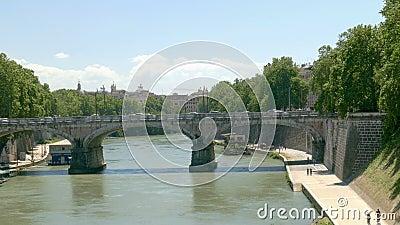 Tiber bridge. Bridge to the Tiber island on the Tiber river in Rome stock video
