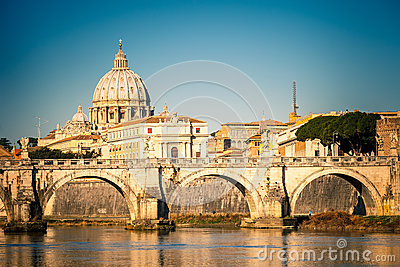 Tiber and St. Peter s cathedral, Rome