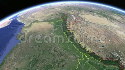 Tibet - carte physique du globe Animation map illustration libre de droits