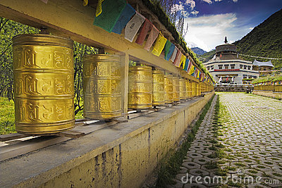 Tibet prayer wheels