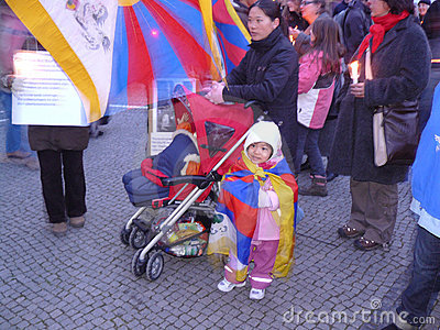 Tibet refugees protest Editorial Photo