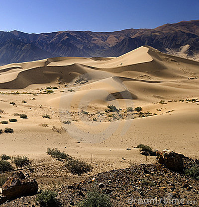 Free Tibet - Tibetan Plateau - Desert Sand Dunes Royalty Free Stock Image - 23949846