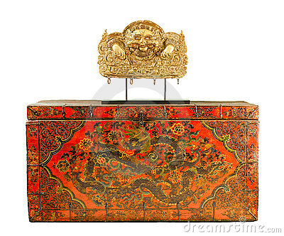 Tibetan ancient box isolated