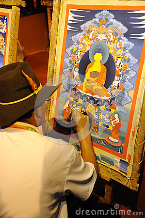 Tibetan artisan  painting tangka Editorial Photo