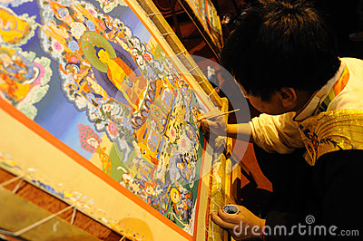 Tibetan artisan  painting tangka Editorial Stock Image