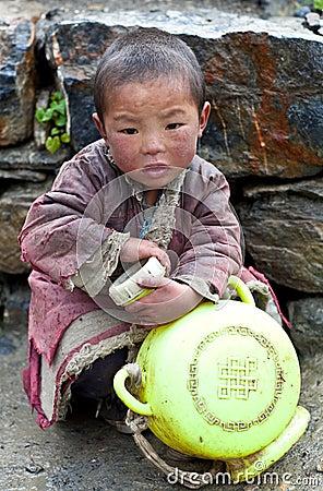 Tibetan boy Editorial Stock Photo