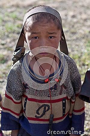 Tibetan boy from Dolpo, Nepal Editorial Stock Photo