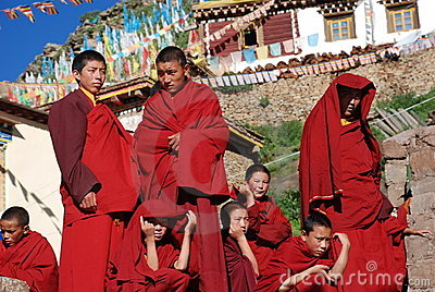Tibetan boy lamas Editorial Stock Image