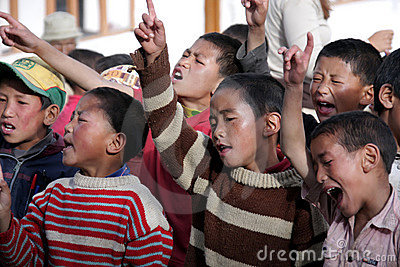Tibetan children singing Editorial Image
