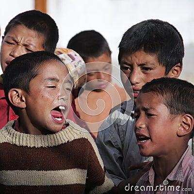 Tibetan children singing Editorial Stock Photo