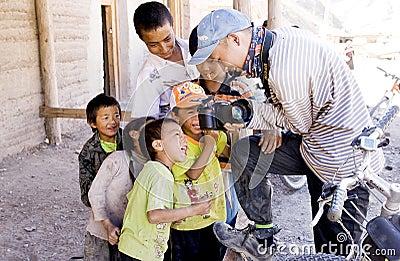 Tibetan  children traveller Editorial Stock Photo