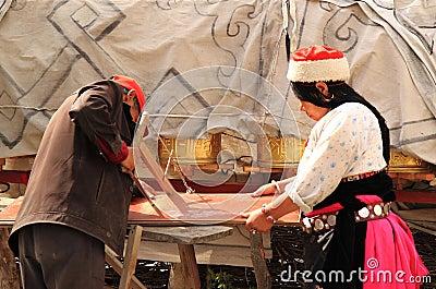 Tibetan couple country lifestyle China  Editorial Stock Image