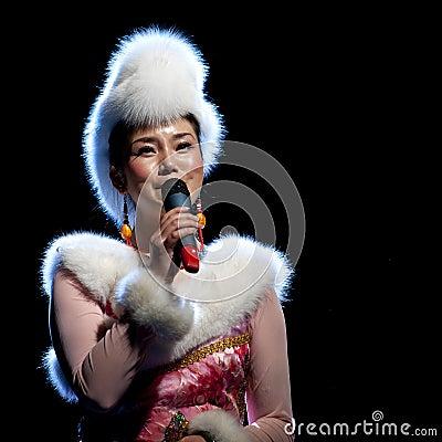Tibetan ethnic folk singer Editorial Photo