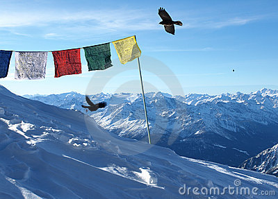 Tibetan Flags on Swiss Alps