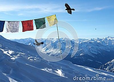 Tibetan Flags on Swiss Alps