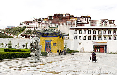 Tibetan in front of the Potala Palace Editorial Photo