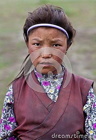 Tibetan girl Editorial Stock Photo