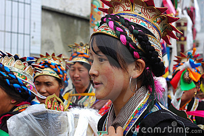 Tibetan girl at Ongkor festival Editorial Stock Photo