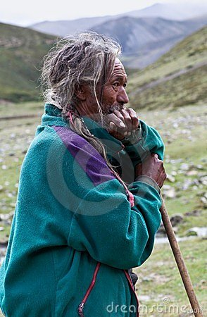 Tibetan herdsman Editorial Stock Photo