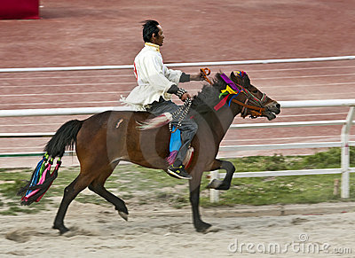 Tibetan Horse Racing Editorial Photo
