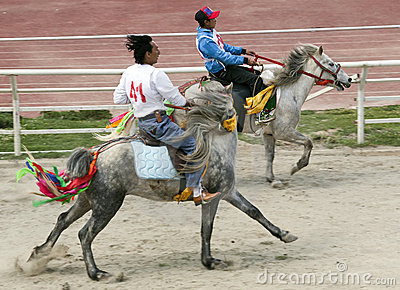 Tibetan Horse Racing Editorial Photography