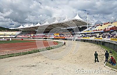 Tibetan Horse Racing Editorial Photo