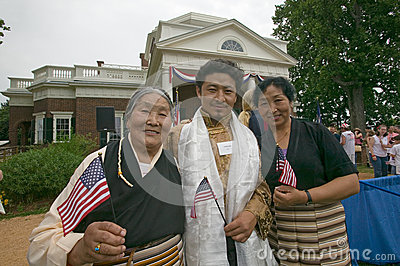 Tibetan immigrant and family Editorial Stock Photo