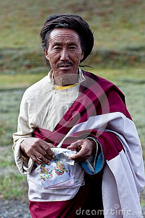 Tibetan man in Dolpo, Nepal Editorial Stock Image