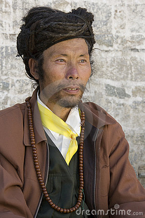Tibetan Man - Gyantse - Tibet Editorial Photography