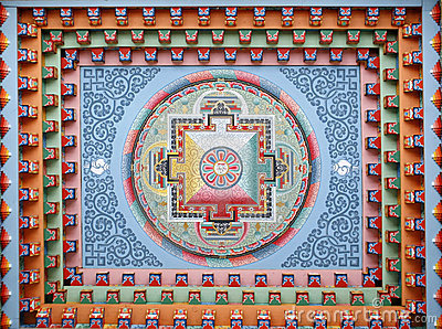 Tibetan mandala painting on monestery