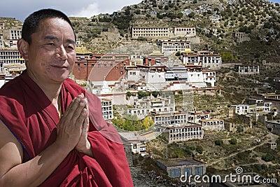 Tibetan Monk - Ganden Monastery - Tibet Editorial Stock Image