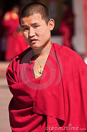 Tibetan Monk at Rumtek monastery Editorial Stock Image