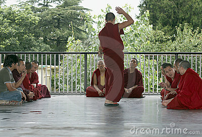 Tibetan Monks Debate Editorial Photography